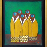 5 Masked Figures - 20x16 - Acrylic on Canvas - $650